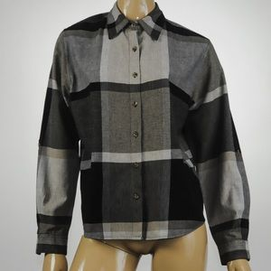 Dress Barn - Plaid Long Sleeve Top - Size L